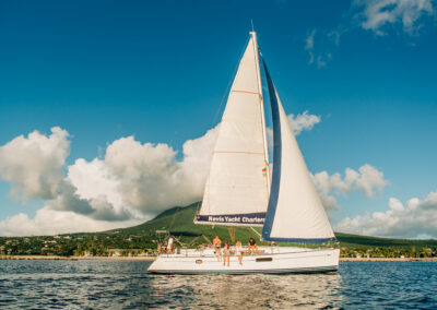 Sailing down the coast of Nevis on your private yacht charter