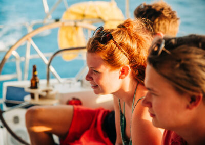 Sailing in st kitts and nevis with friends and relaxing on deck