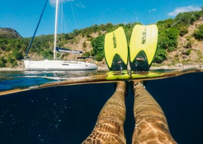 Fins in the air - snorkeling St Kitts & Nevis
