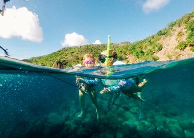 water babies snorkeling in St Kitts & Nevis