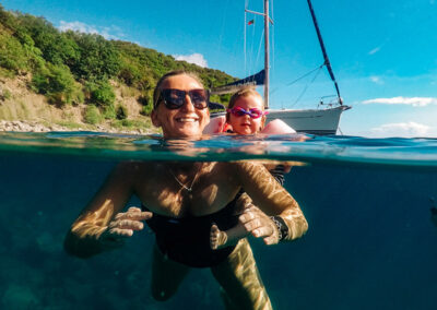 learning to swim and snorkel in St Kitts & Nevis