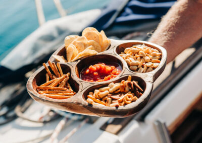 table service aboard your private yacht charter in nevis and st kitts
