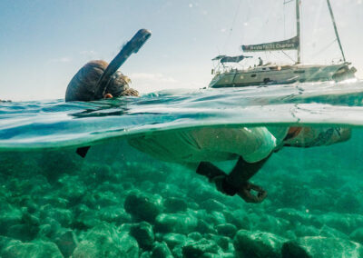 Nevis Yacht Charters sailing and snorkeling in crystal clear waters